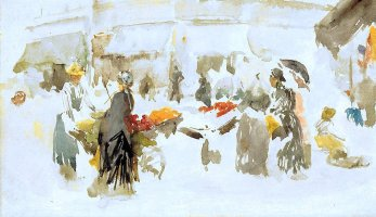 By McNeill Whistler, J. - Scene in a flower-market