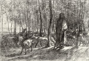 By Millet - Shepherd with sheep under trees