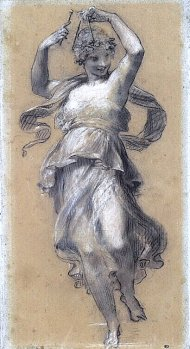 By Prud'hon, Pierre P. - A girl dancing and playing a musical triangle