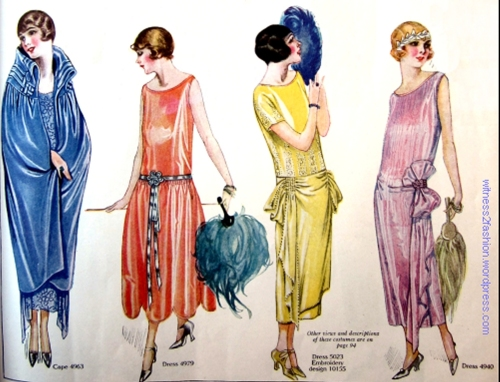 Evening dresses and and evening wrap; Butterick patterns illustrated in Delineator magazine, February 1924.